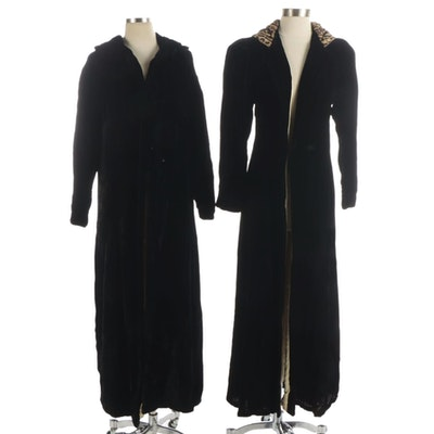 Black Velvet Duster Coats with Leopard Print Hood and Sailor Collar