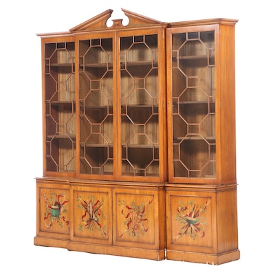 George III Style Paint-Decorated Satinwood Breakfront Bookcase
