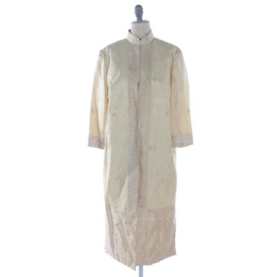 Cream Silk Shantung Dress Suit with Floral Paisley Pattern