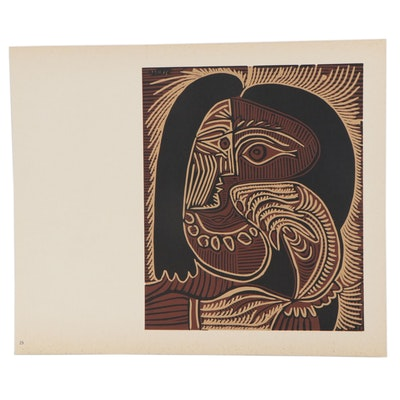 "Pablo Picasso Linoleum Cut ""Female Head With Necklace,"" circa 1962"
