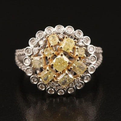 18K 2.07 CTW Yellow Diamond and Diamond Cluster Ring