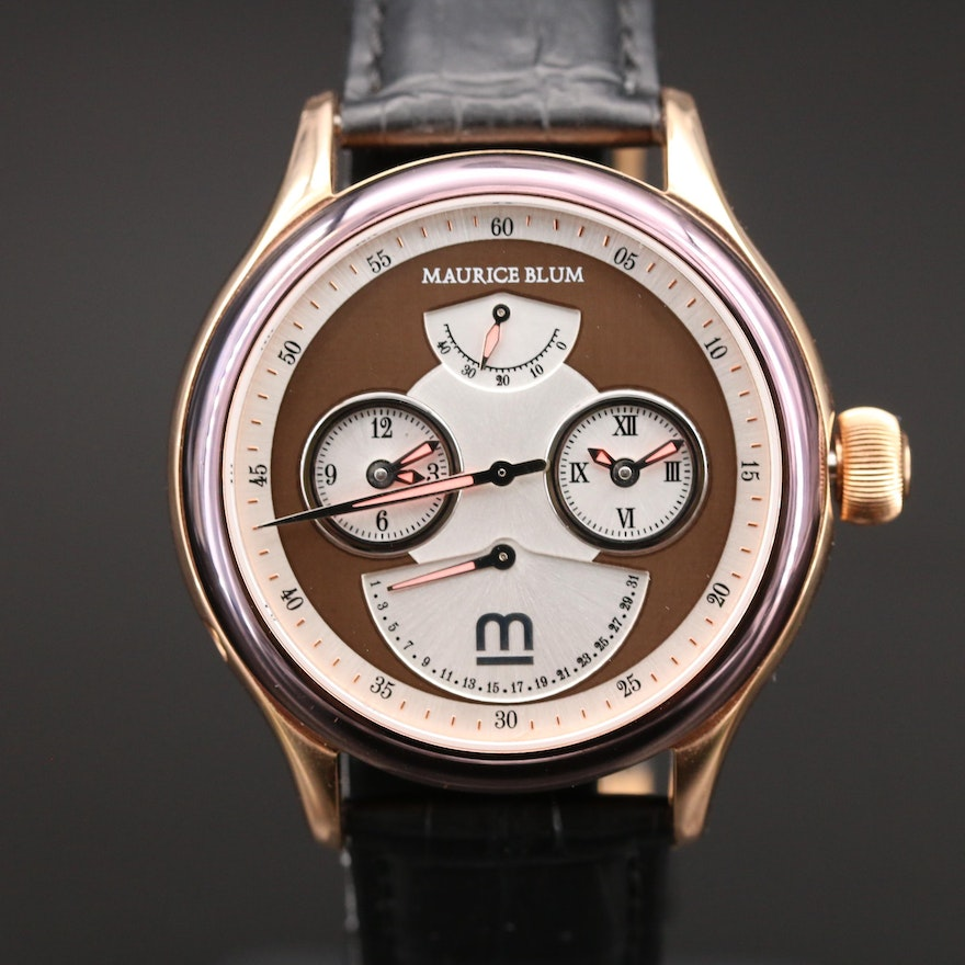 Maurice Blum Dual-Time Rose Gold Tone Automatic Wristwatch