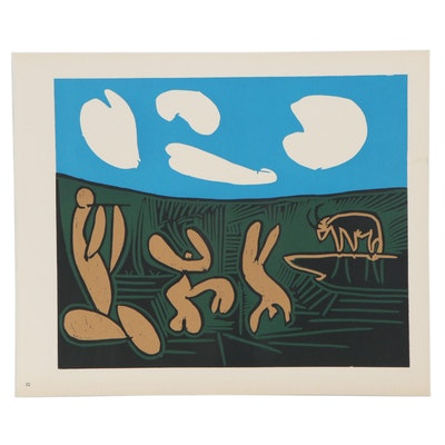 "Pablo Picasso Linoleum Cut ""Bacchanal With a Bull,"" circa 1962"