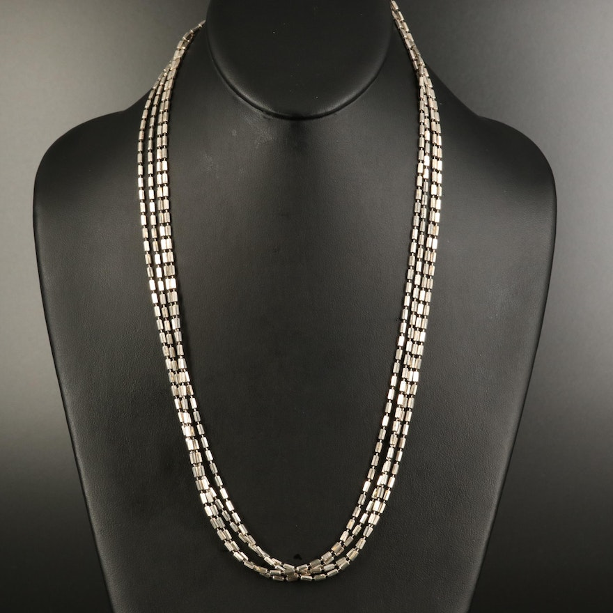 """Sterling 124.75"""" Bar Bead Necklace"""