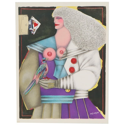 Color Lithograph after Richard Lindner of Woman Holding Bird, Late 20th Century