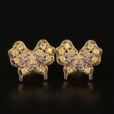 18K 2.08 CTW Diamond Butterfly Button Earrings