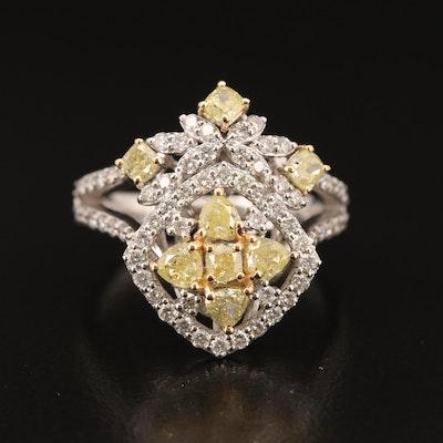 18K 2.09 CTW Diamond and Yellow Diamond Cluster Ring