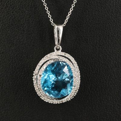 14K Topaz and Diamond Pendant Necklace
