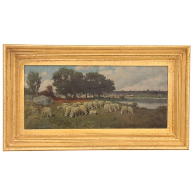 Pastural Oil Painting of Sheep Grazing, Early 20th Century