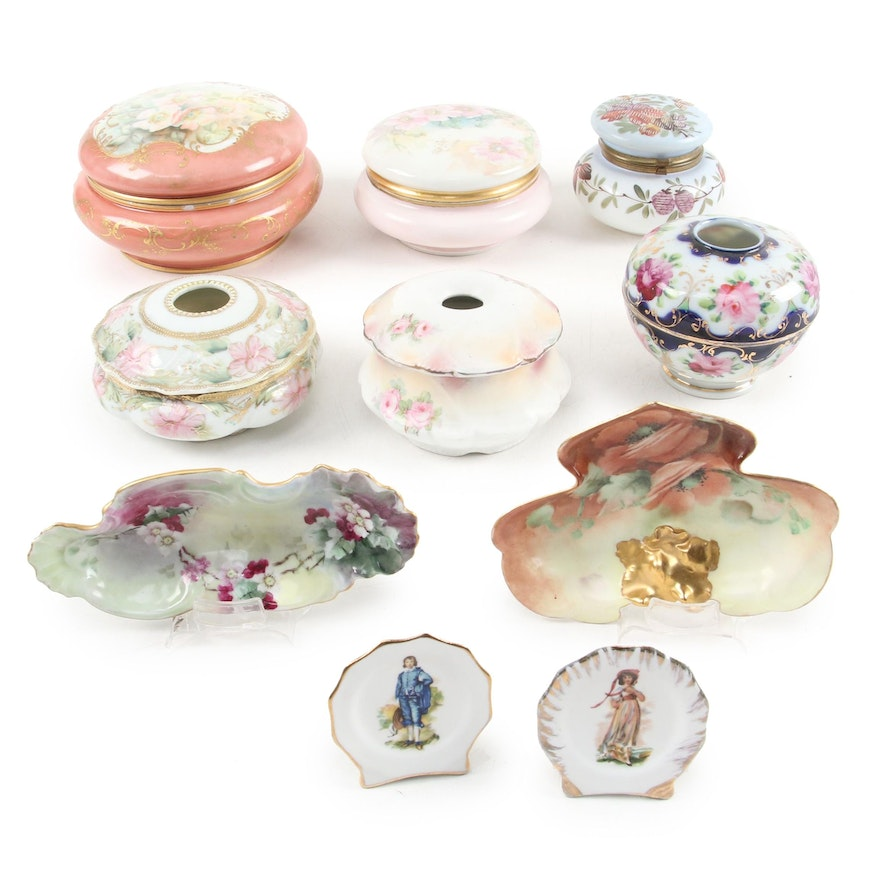 T&V Limoges Porcelain Box with Victorian Hair Receiver Boxes and Accessories