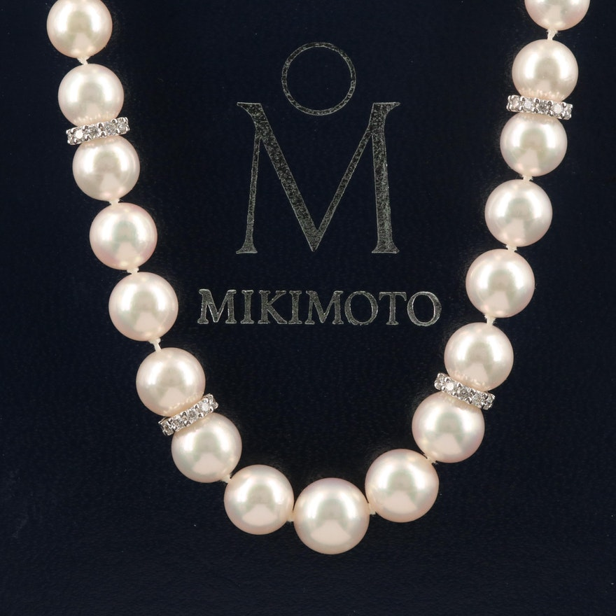 Mikimoto 18K Pearl and Diamond Graduated Strand Necklace