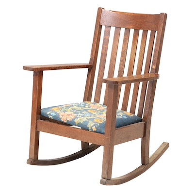 Arts and Crafts Oak Needlepoint Upholstered Rocking Chair, Early 20th Century