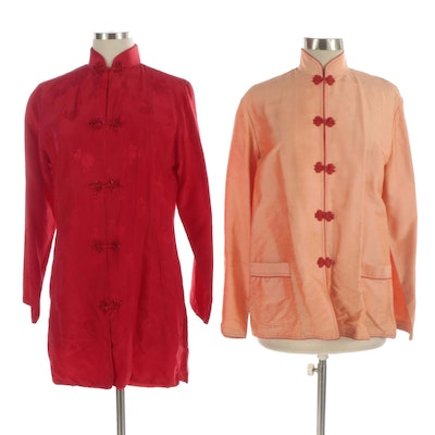Chinese Silverymoon and Imperial Tang Suit Style Silk Jackets
