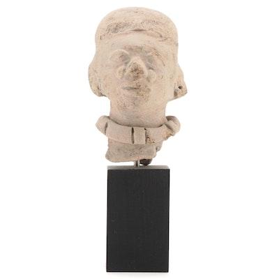 Pre-Columbian Manabi Style Ceramic Head Fragment, Ecuador