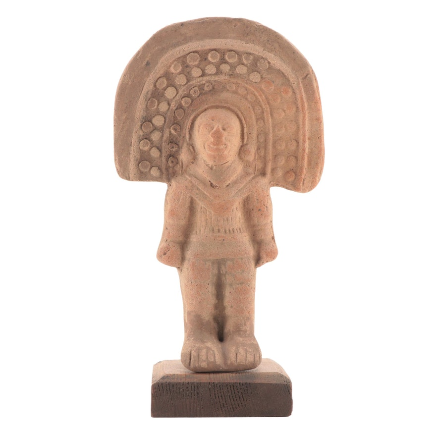 Pre-Columbian Ecuadoran Press-Molded Figure with Headdress