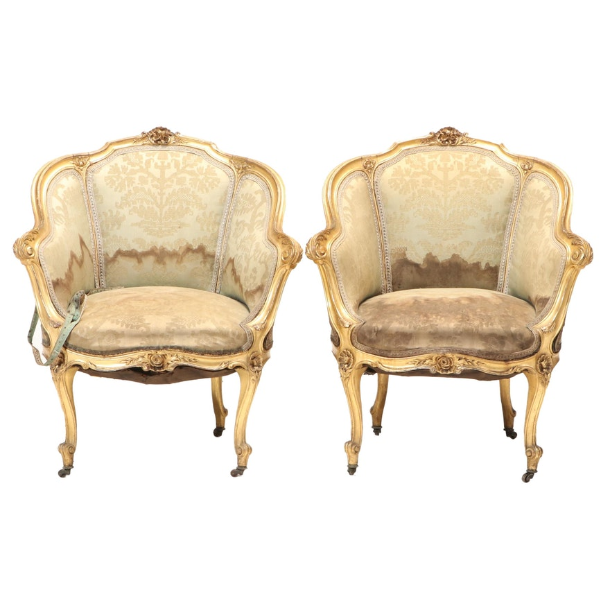 Pair of Louis XV Style Giltwood Bergères, Late 19th/Early 20th Century