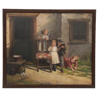 J. Martinus Genre Scene Oil Painting, Early 20th Century