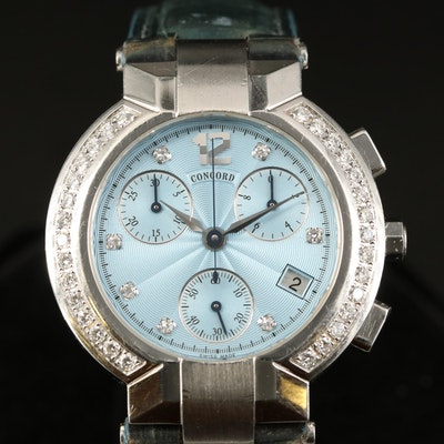 Concord LaScala Chronograph 1.01 CTW Diamond Quartz Wristwatch
