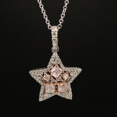 18K 1.01 CTW Diamond Star Pendant Necklace