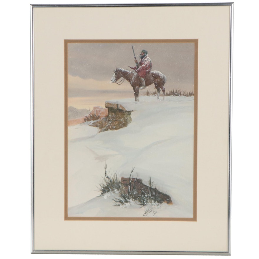 Ron Stewart Watercolor and Gouache Painting of Hunter in the Snow