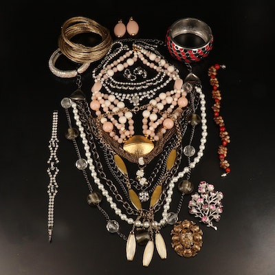 Jewelry Including Shell, Rhinestone and Faux Pearl