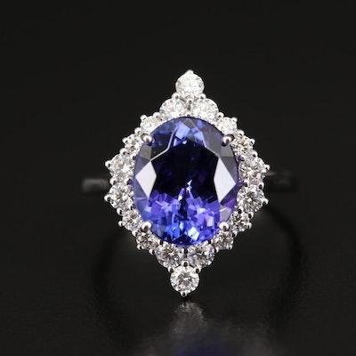 18K 4.71 CT Tanzanite and Diamond Ring