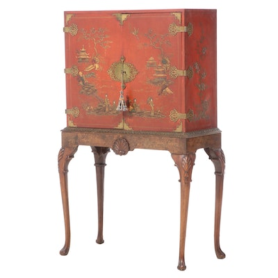 Ruder Brothers Queen Anne Style Chinoiserie Cabinet on Stand, Early 20th Century
