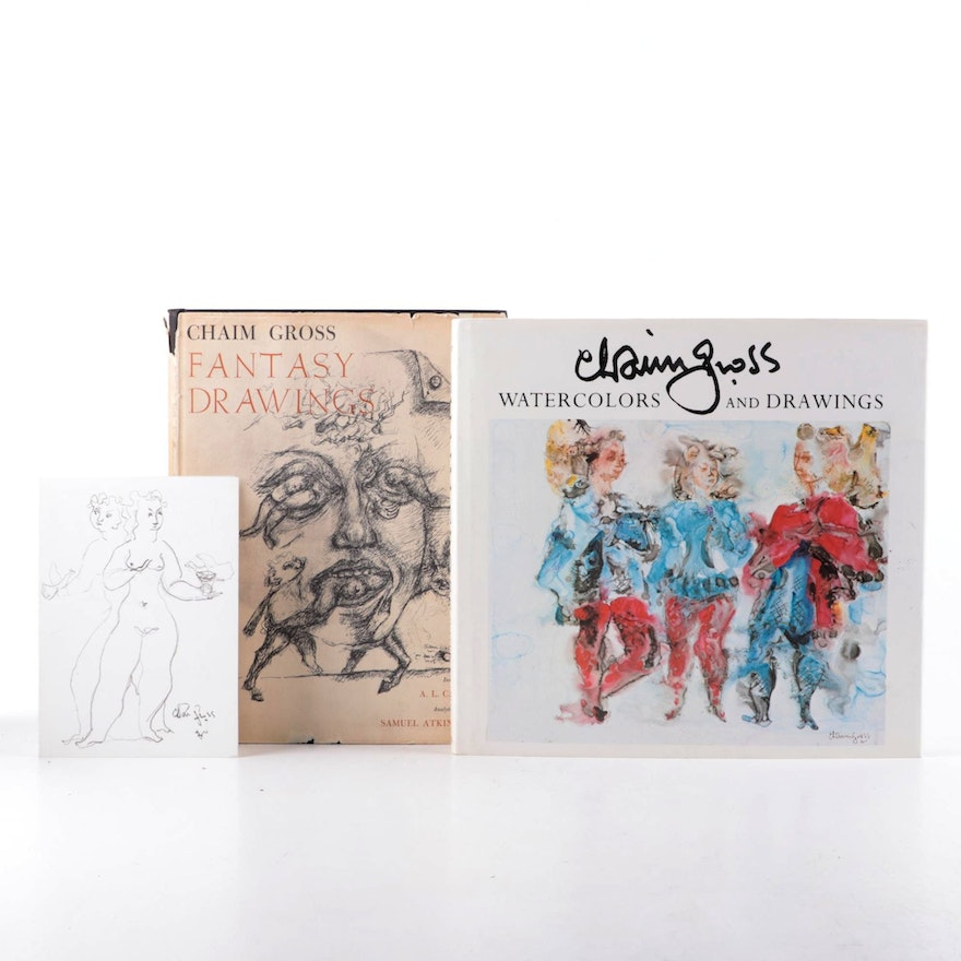 """Signed """"Fantasy Drawings"""" and """"Watercolors and Drawings"""" by Chaim Gross"""