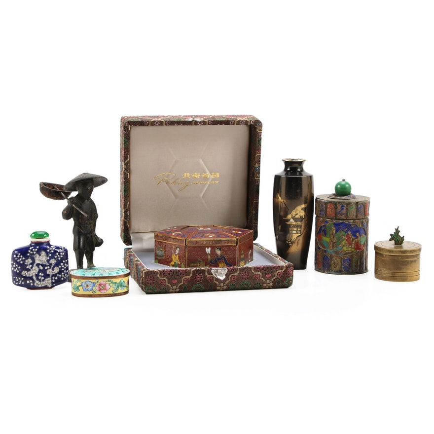 Peking Cloisonné Puzzle Jewelry with Other Boxes and Tableware