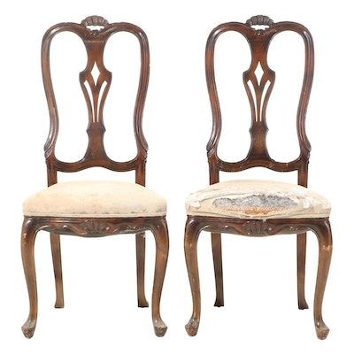 Pair of Venetian Style Mahogany Side Chairs, Mid-20th Century
