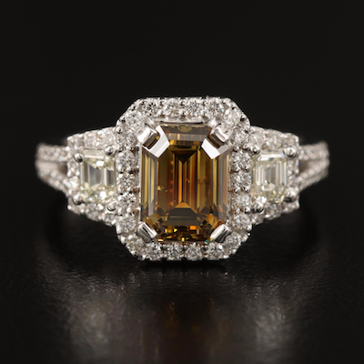 Natalie K. 18K Diamond Ring with 2.01 CT Center and GIA Report