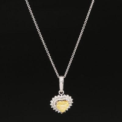18K 1.39 CTW Diamond Pendant Necklace with GIA Report