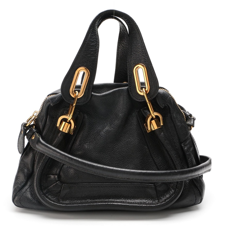 Chloé Small Paraty Two-Way Bag in Black Calfskin Leather