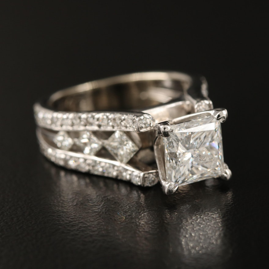 14K Diamond Ring with 2.20 CT Center and Platinum Accent