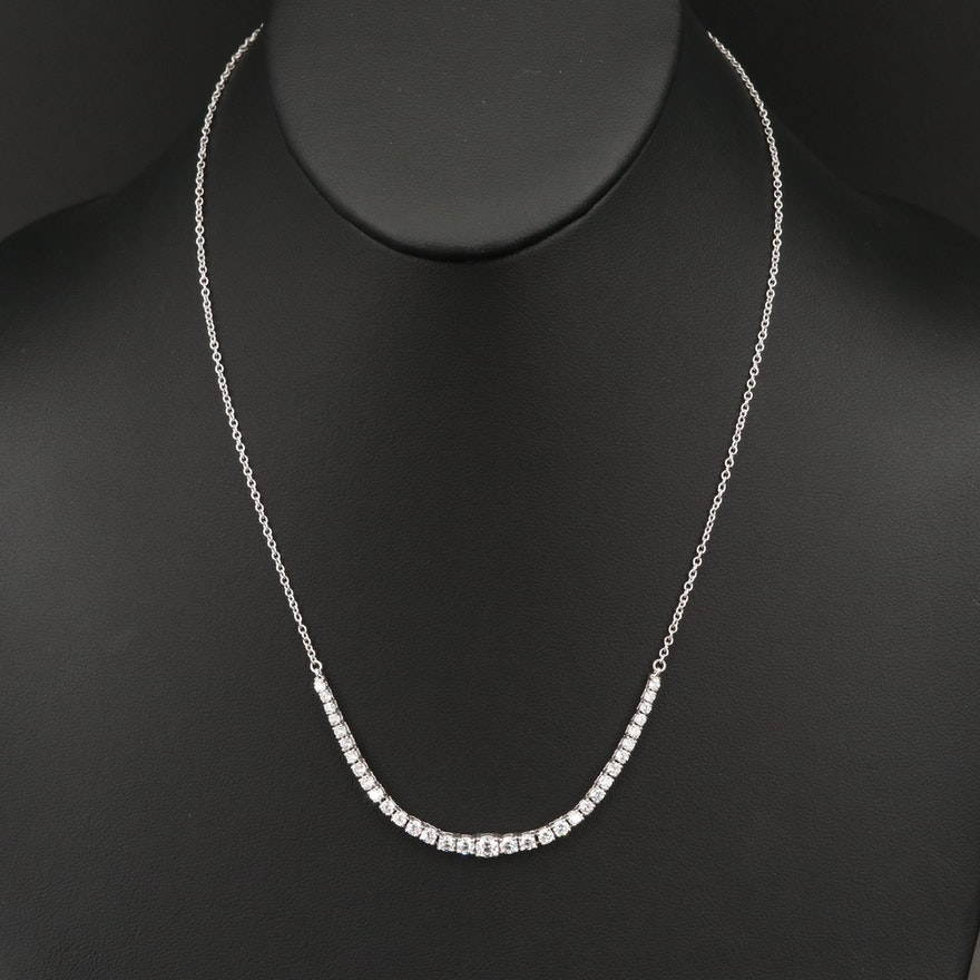 14K 2.10 CTW Graduated Diamond Stationary Pendant Necklace