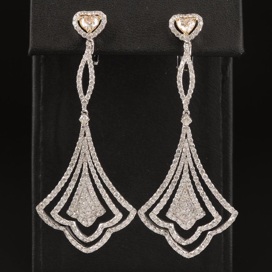 14K Diamond Drop Fan Convertible Earrings