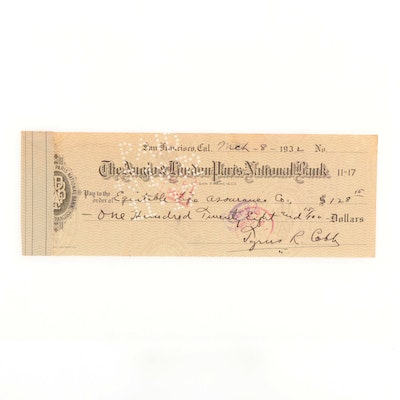 """Ty Cobb """"The Georgia Peach"""" Signed Personal Banking Check, 1932"""