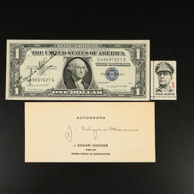 Douglass MacArthur Autographed Silver Certificate and J. Edgar Hoover Autograph
