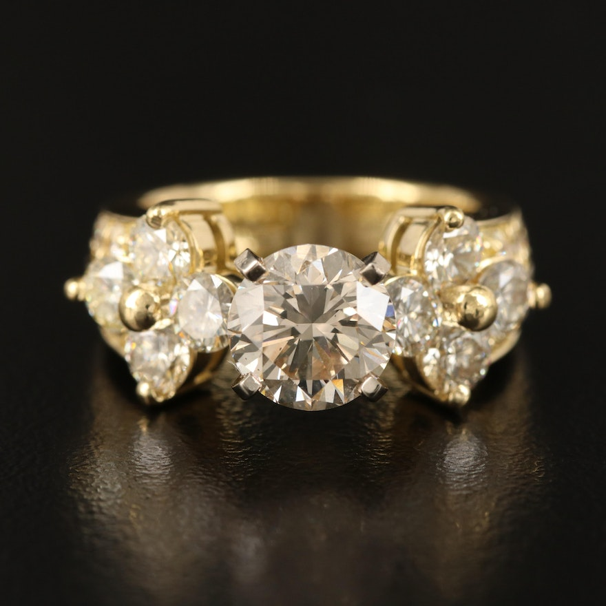 18K Diamond Ring with 14K Accent