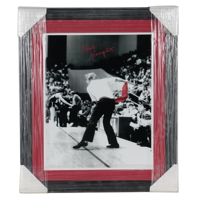 """Bobby Knight Signed """"Chair Throwing"""" Photo Print, COA"""