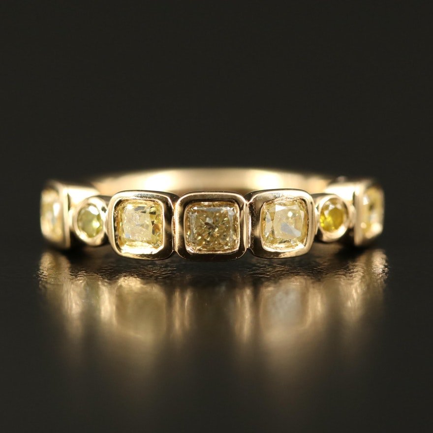 18K 1.36 CTW Diamond Bezel Ring