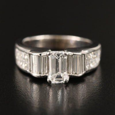 18K Diamond Ring with Invisible Set Shoulders