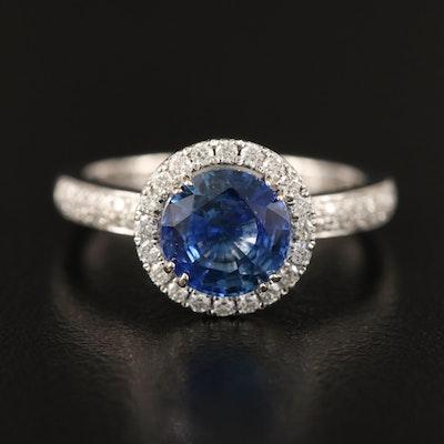 Natalie K. 18K 1.75 CT Sapphire and Diamond Halo Ring