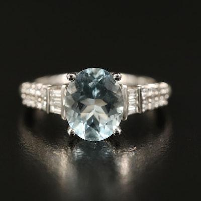 EFFY 14K Aquamarine and Diamond Ring with Openwork Heart Gallery