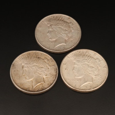 1922, 1922-D, and 1922-S Peace Silver Dollars