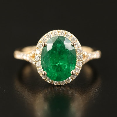 EFFY 14K 2.85 CT Emerald and Diamond Ring