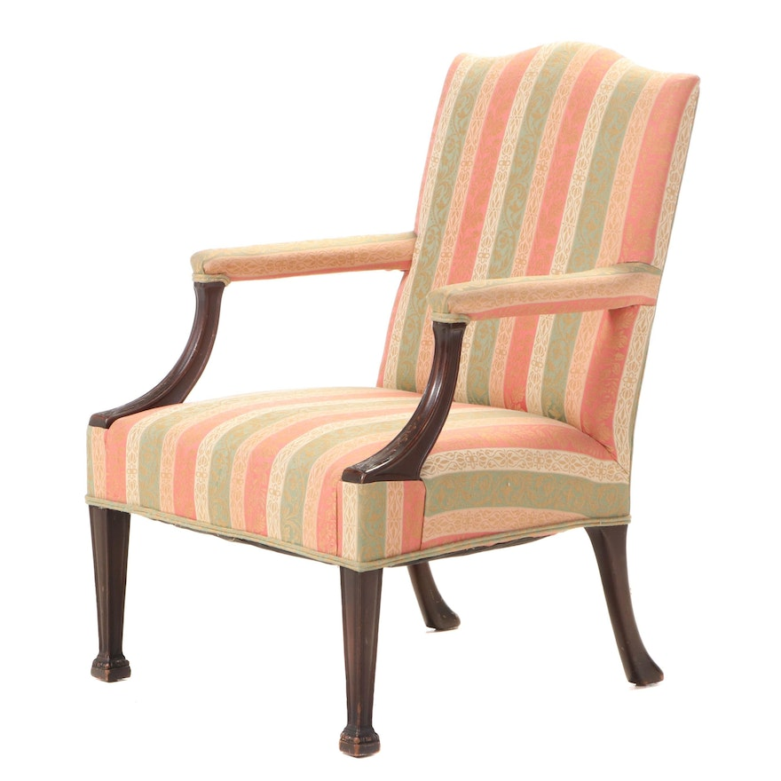 Carved Mahogany Gainsborough Chair, Early to Mid-20th Century