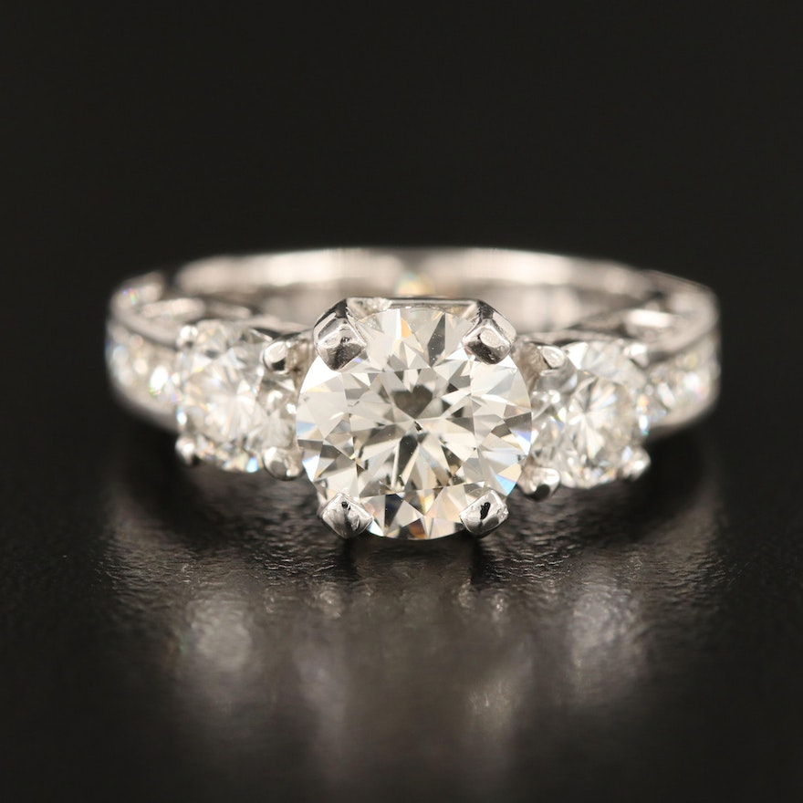 House of Baguettes 14K Diamond Ring with 1.66 CT Center