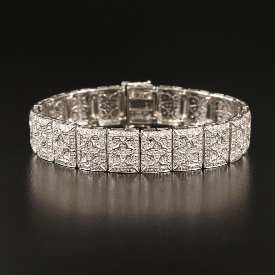 Vintage 14K 3.00 CTS Diamond Quatrefoil Panel Bracelet