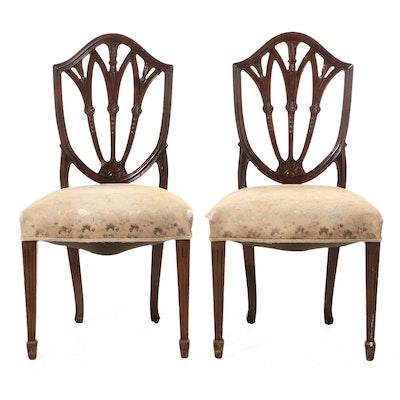 Pair of Hepplewhite Shield-Back Mahogany Side Chairs, Mid-20th Century